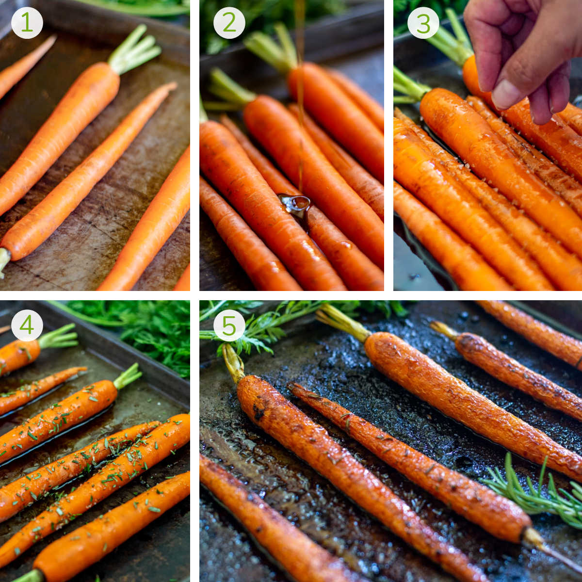 process photos showing laying out the carrots, adding honey and balsamic vinegar, sprinkling sea salt and herbs and roasting.