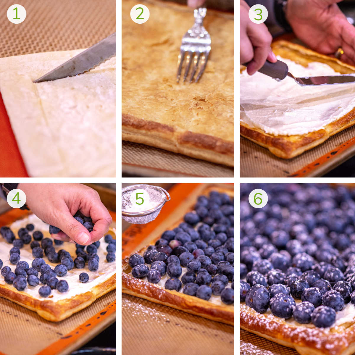 several process photos showing preparing the puff pastry, adding the cream cheese and layering the blueberries on the tart.