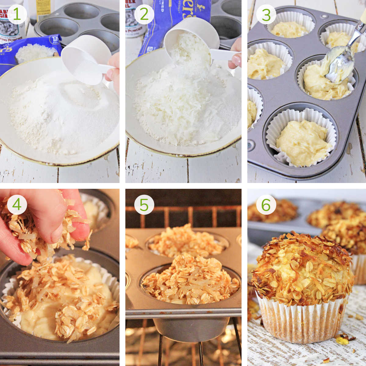 process photos showing combining the wet and dry ingredients, adding it to muffin tins and topping with toasted coconut.