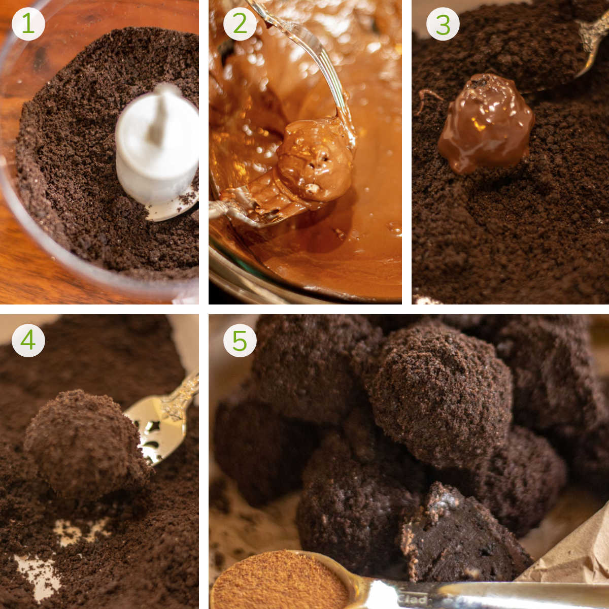process photos showing how to mix the ingredients in the food processor, form them into balls, and dip in chocolate and oreos.