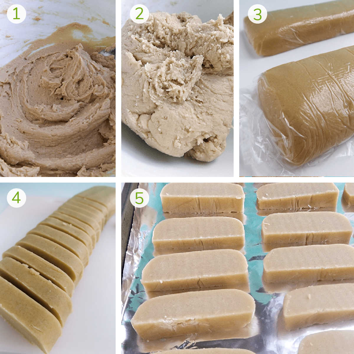 several process photos showing making the dough, forming it into a loaf, slicing and freezing it.