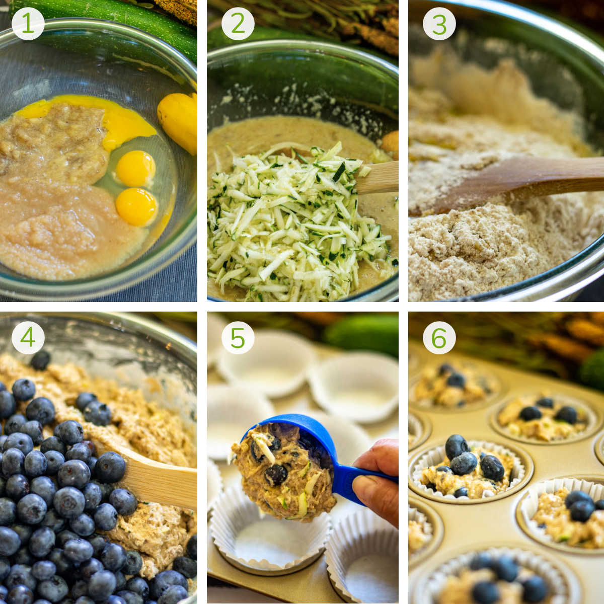 several process photos showing mixing the batter, adding the zucchini, blueberries and putting them in muffin tins to bake.