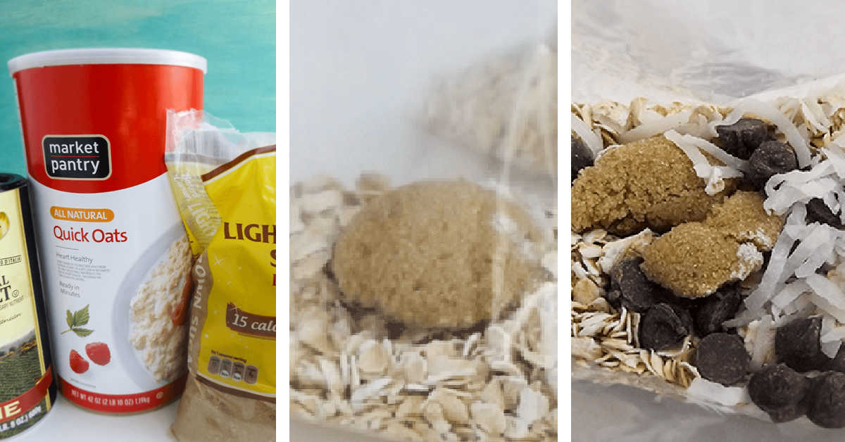 three photos showing collecting the ingredients, adding them to snack sized Ziploc baggie and sealing.