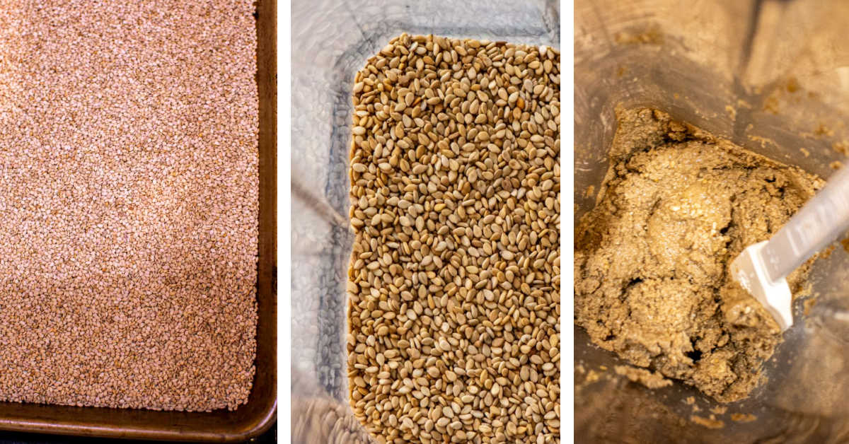 three photos showing how to prepare the sesame seeds, mix them in a Vitamix until creamy.