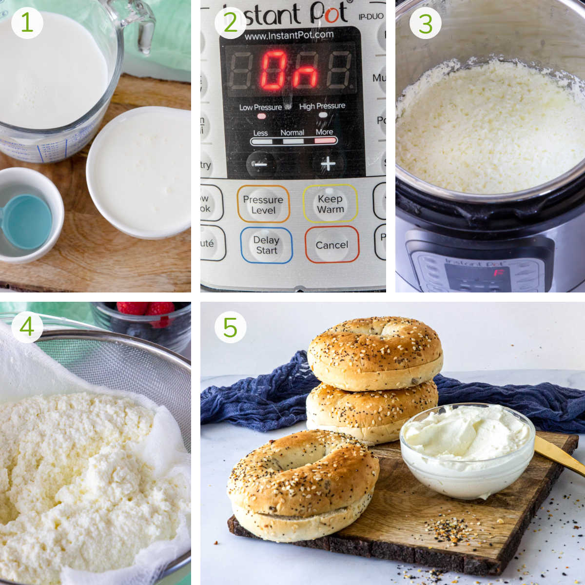 process photos showing combining the ingredients in the instant pot, filtering it through a cheese cloth and scooping in a bowl.