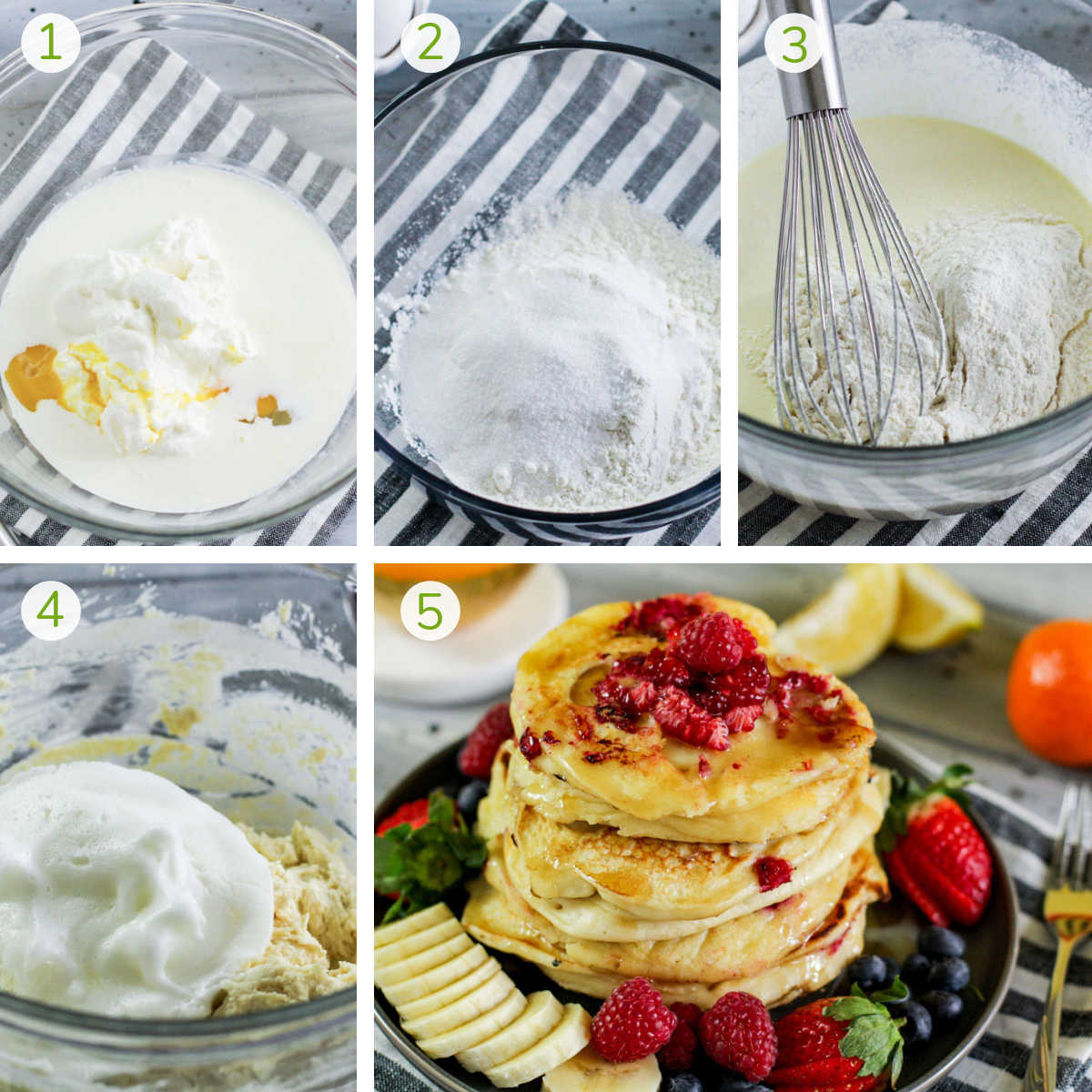 several process photos showing how to combine the ingredients to make pancakes.