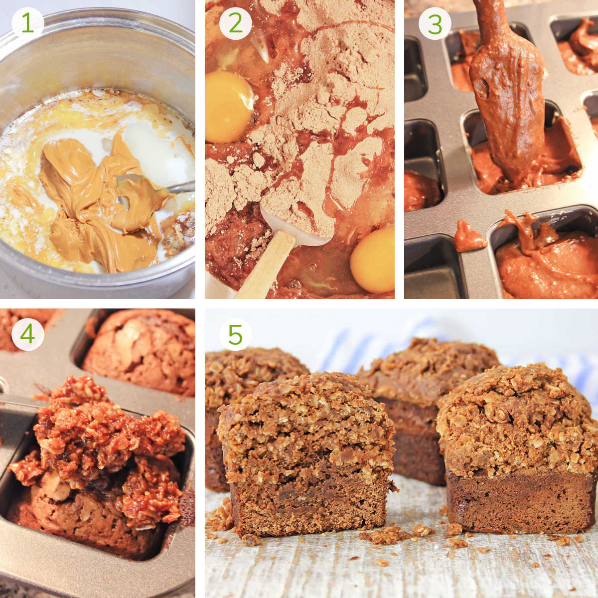 several process photos showing mixing the ingredients, spooning it into muffin tins, baking and topping with cookies.