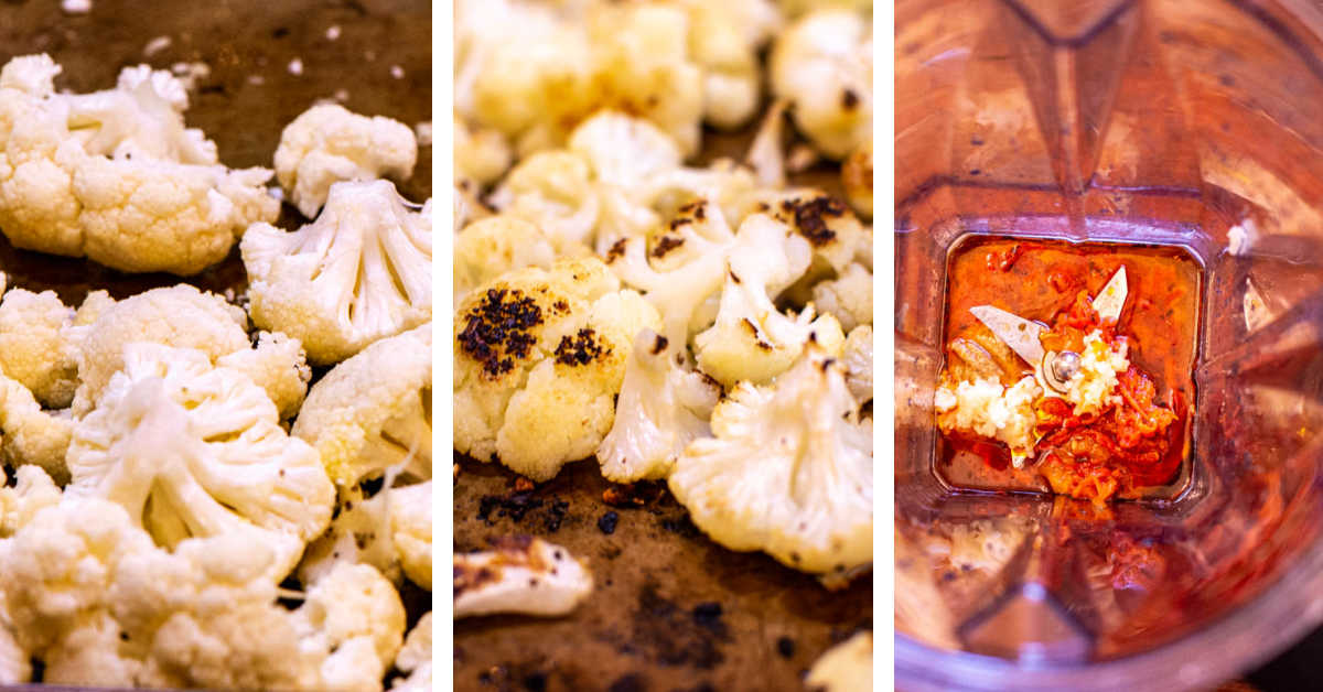 three process photos showing how to roast the cauliflower and blend the tahini sauce.