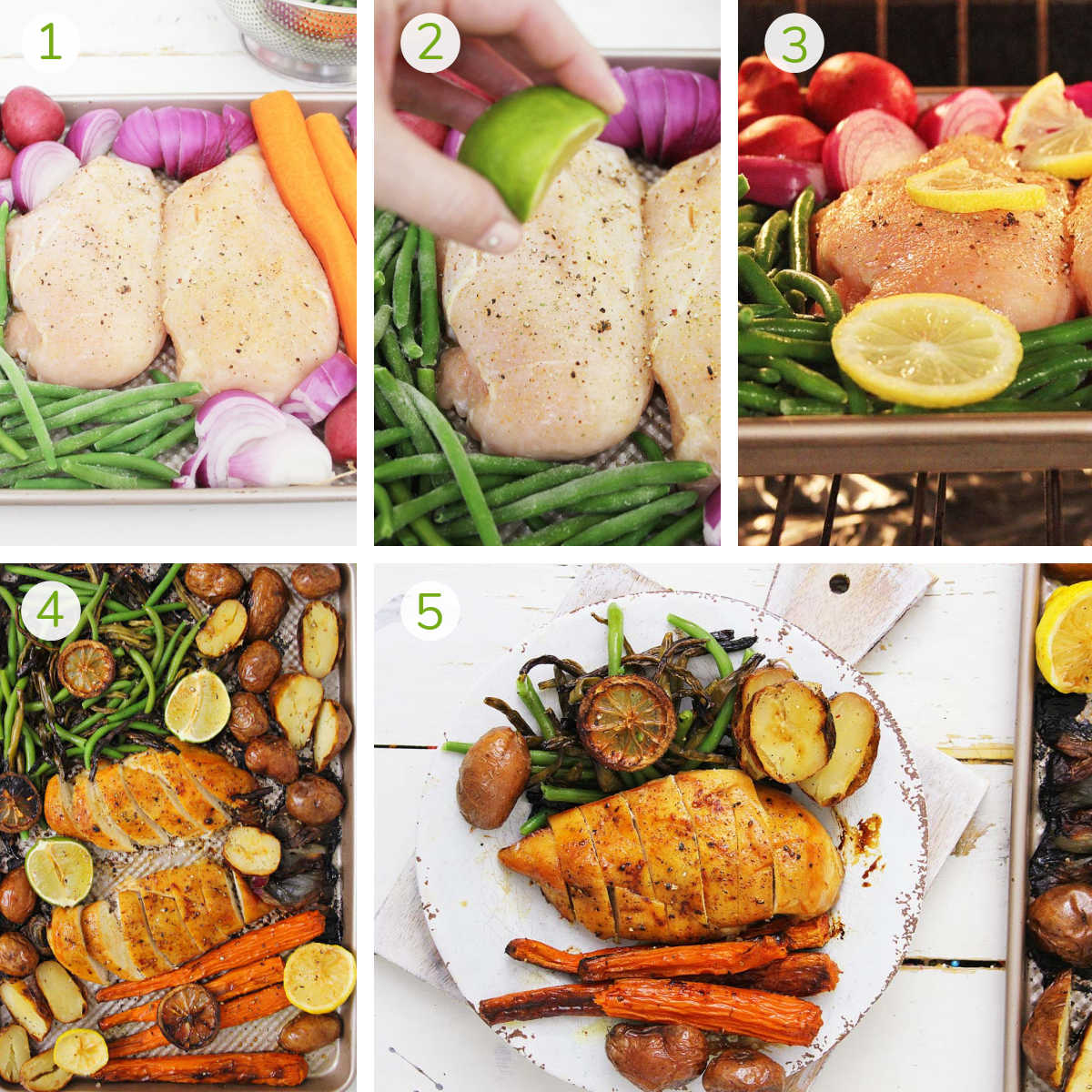 process photos showing adding everything to the sheet pan, putting it in the oven, slicing and serving.