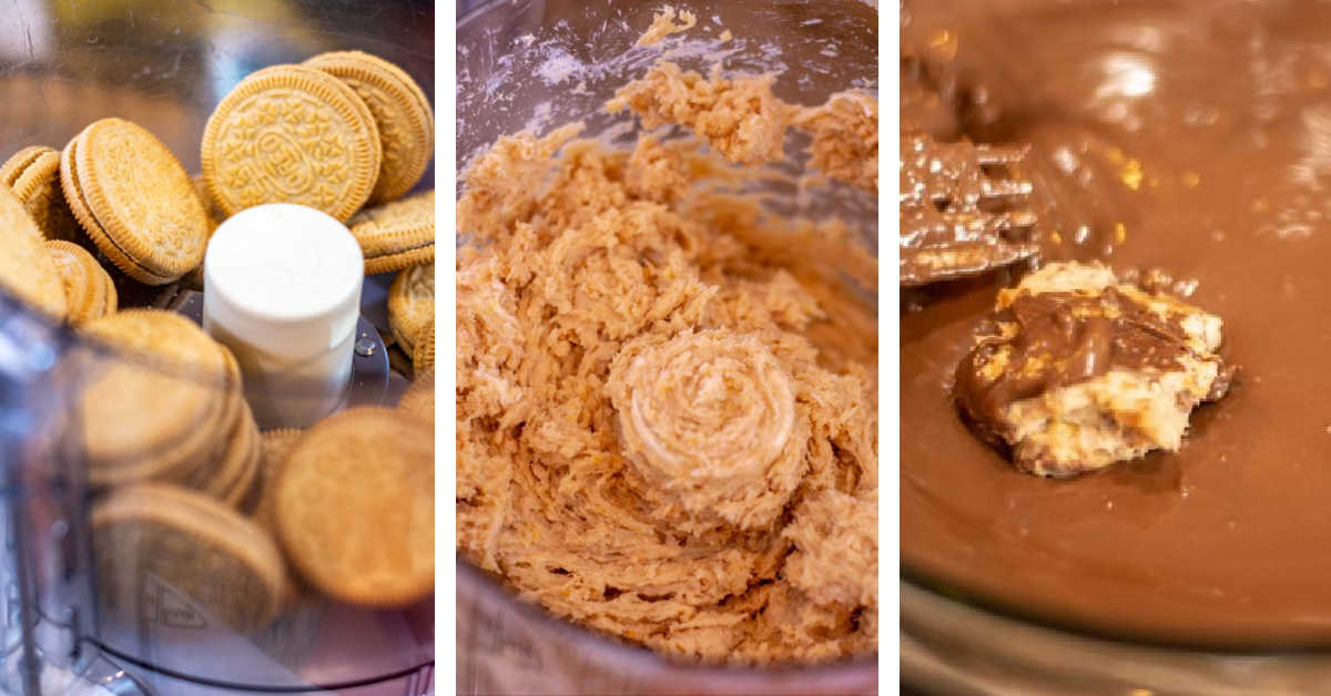 process photos showing adding oreos to the food processor, combining with cream cheese and dipping in melted chocolate.