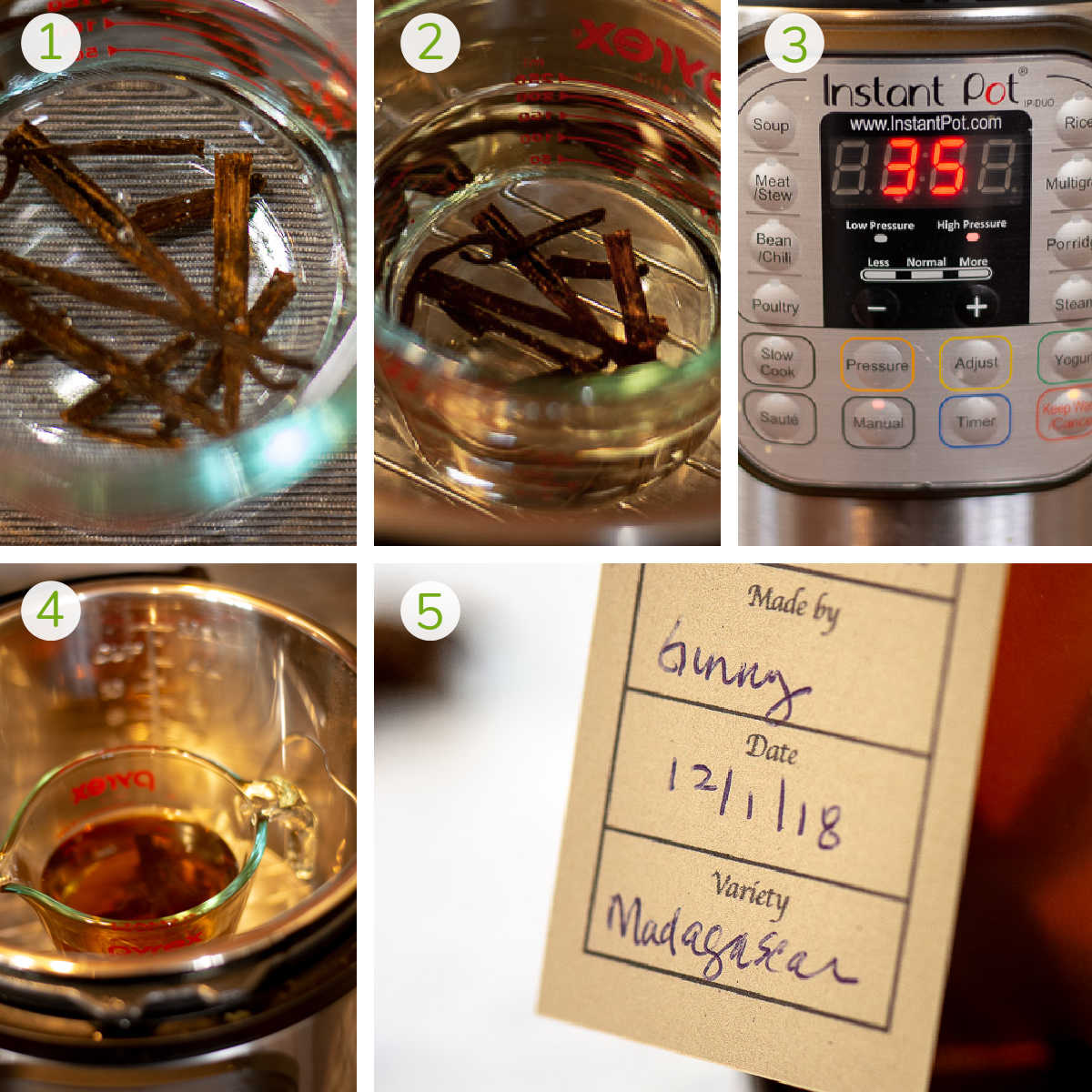 process photos showing adding vodka and vanilla beans to a measuring cup, adding it to the instant pot, and the end result with a cute label.
