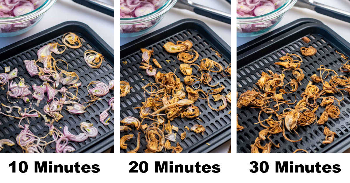 three photos showing how the shallots progress to reach a golden brown color after 30 minutes.