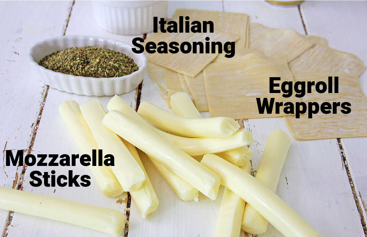 ingredients for the mozzarella sticks on a white table with labels.