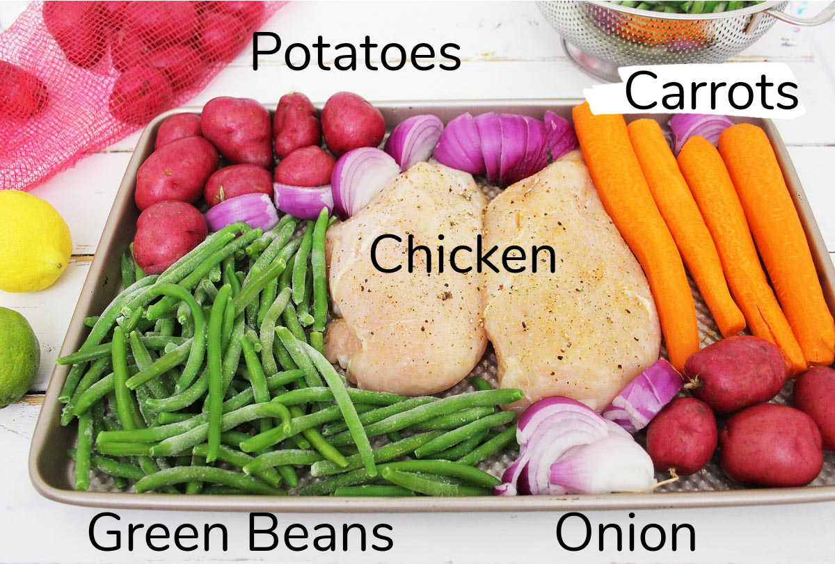 ingredients on a sheet pan including labels.
