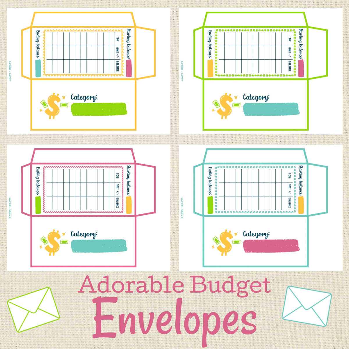 four different envelope templates in different colors.