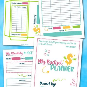 four pages from the budget planner on a bright blue background.