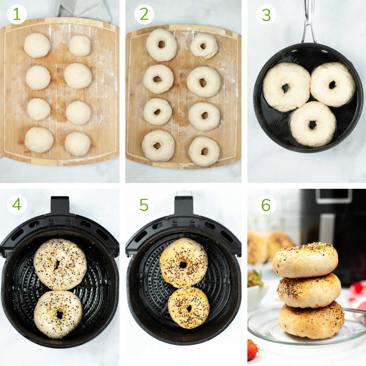 instruction photos showing how to separate the dough, shape and boil them and then season in the air fryer.