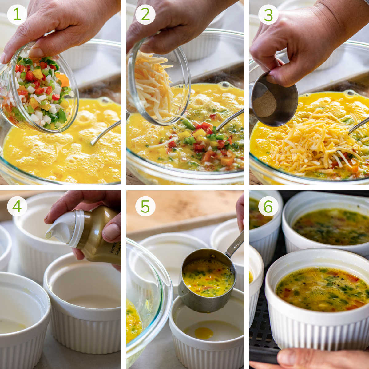 process photos showing adding the vegetables, cheese and seasoning to the egg mixture and then adding it to ramekins for the air fryer.