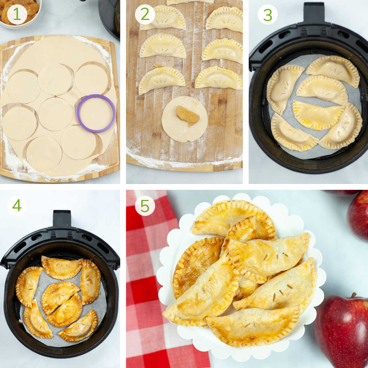 process photos showing cutting the pie crust with a biscuit cutter, adding the pie filling and air frying.