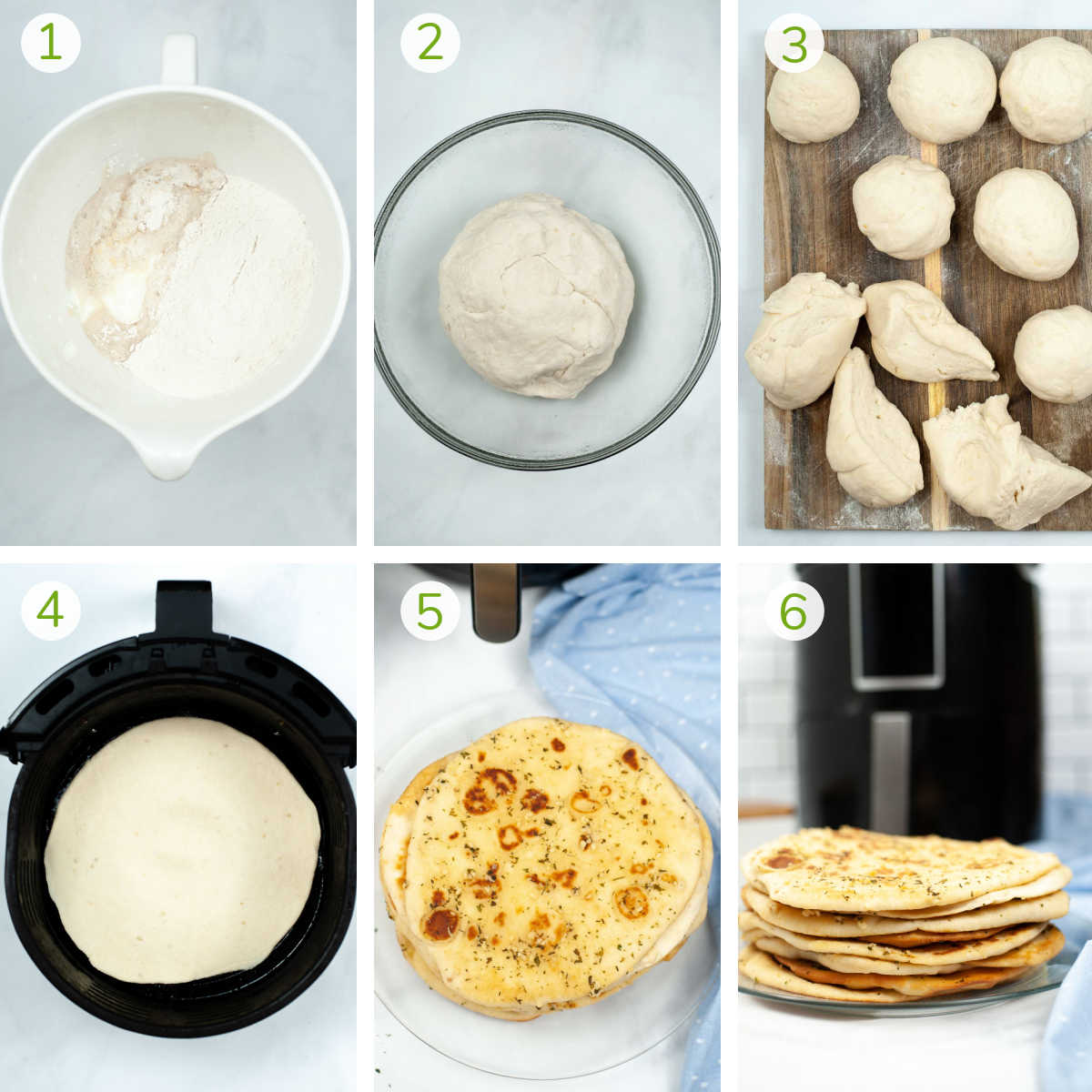 process photos showing mixing the dough, letting it rise, breaking into chunks and air frying.