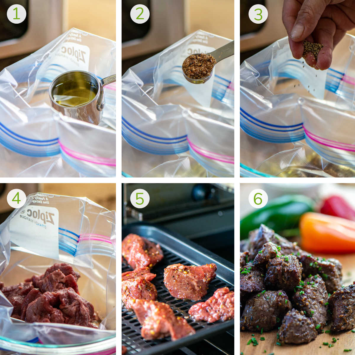 process photos showing adding the oil and seasonings to a Ziploc bag, adding the steak tips to the air fryer and fully cooked.