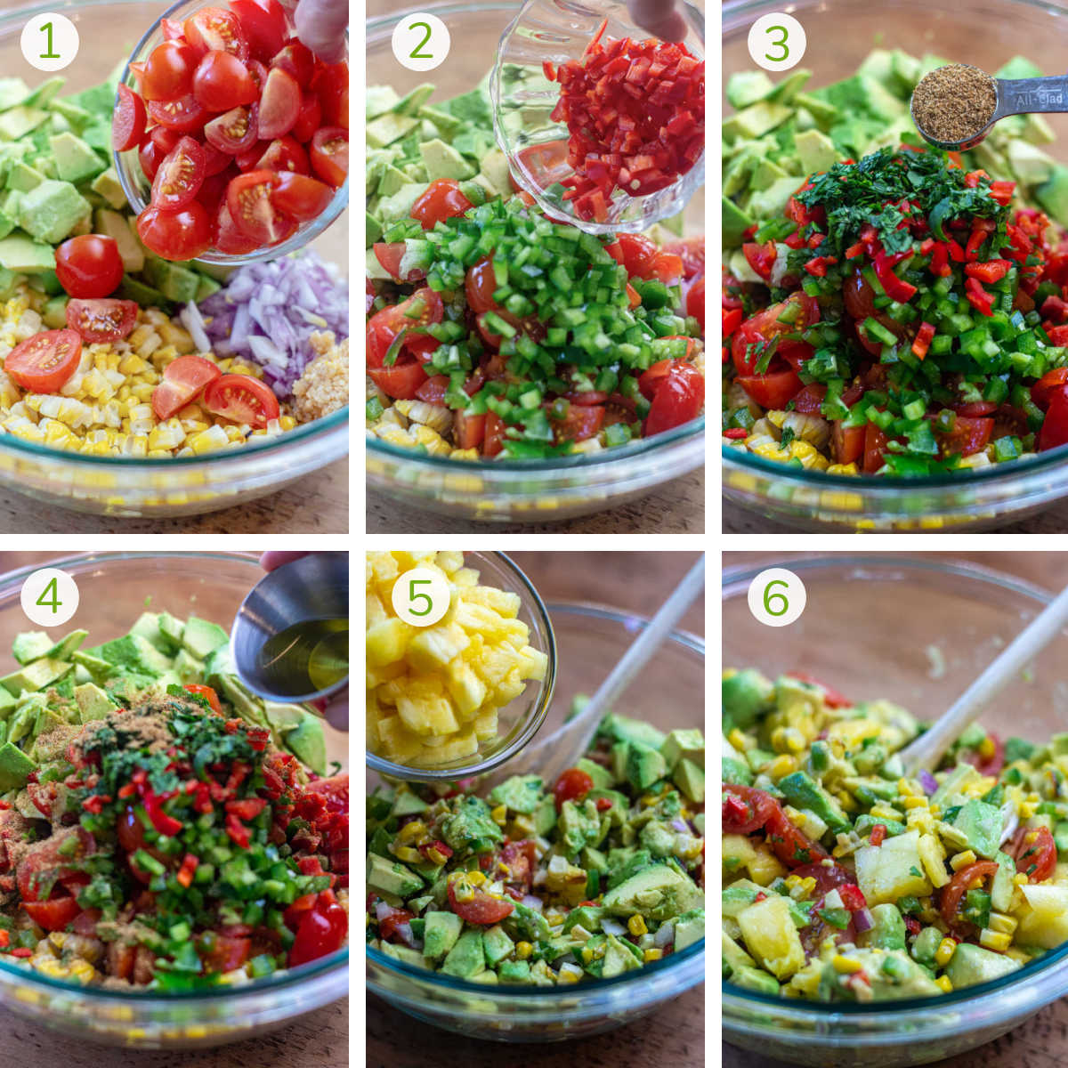 process photos showing how to combine all of the ingredients to make the grilled corn and avocado salsa.