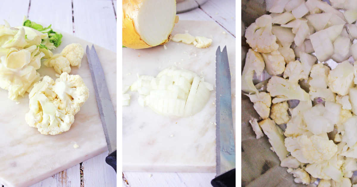 three photos showing cutting the cauliflower, onions and adding to the instant pot.