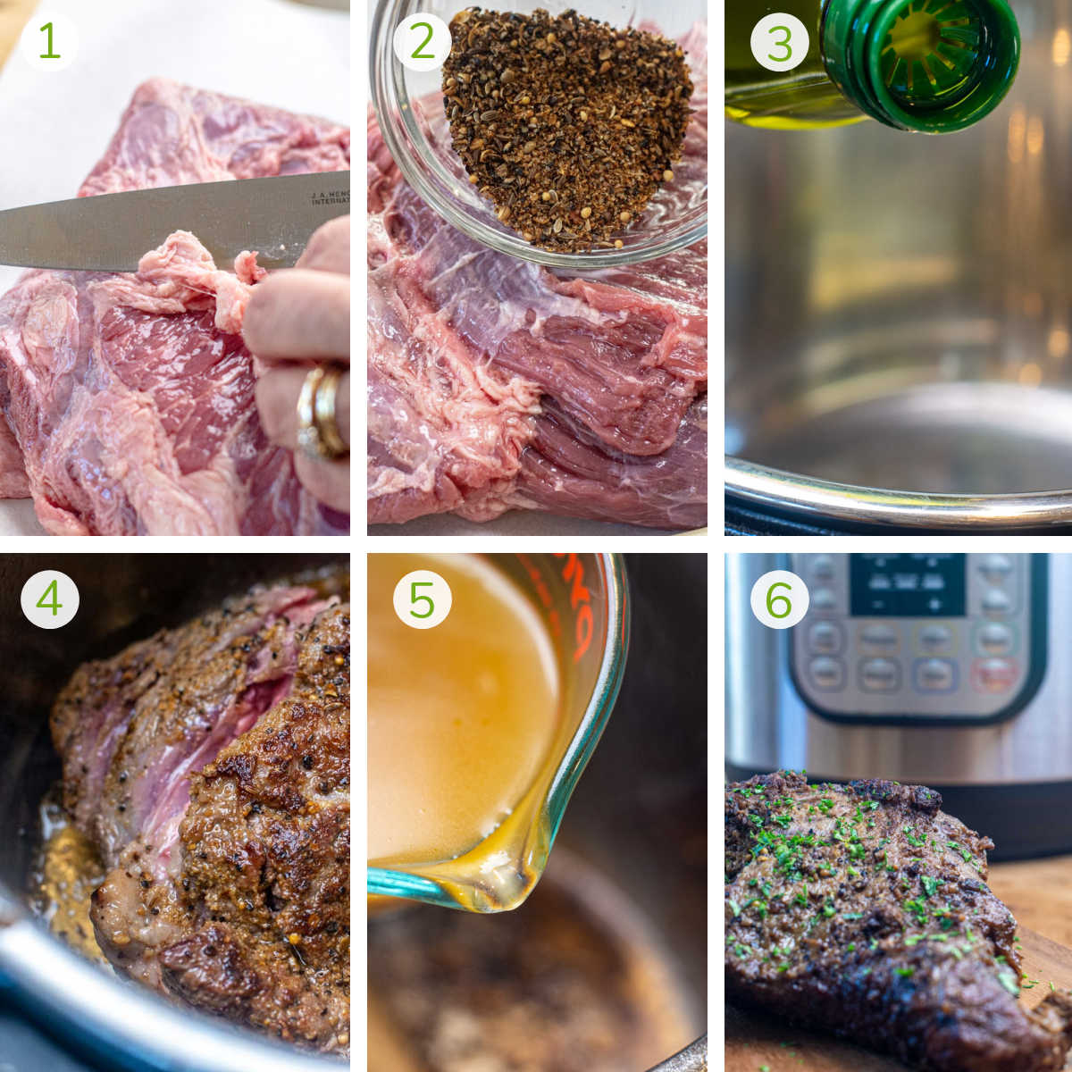 six photos showing trimming the fat off the brisket, seasoning and searing it and then cooking it in the pressure cooker using beef broth.