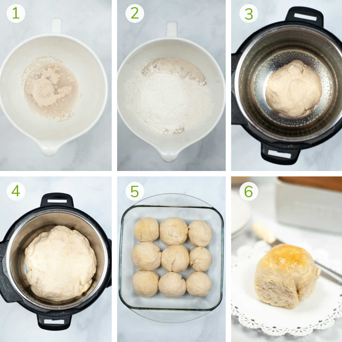series of photos showing mixing the dough, letting it rise in the instant pot, baking and buttering the dinner rolls.