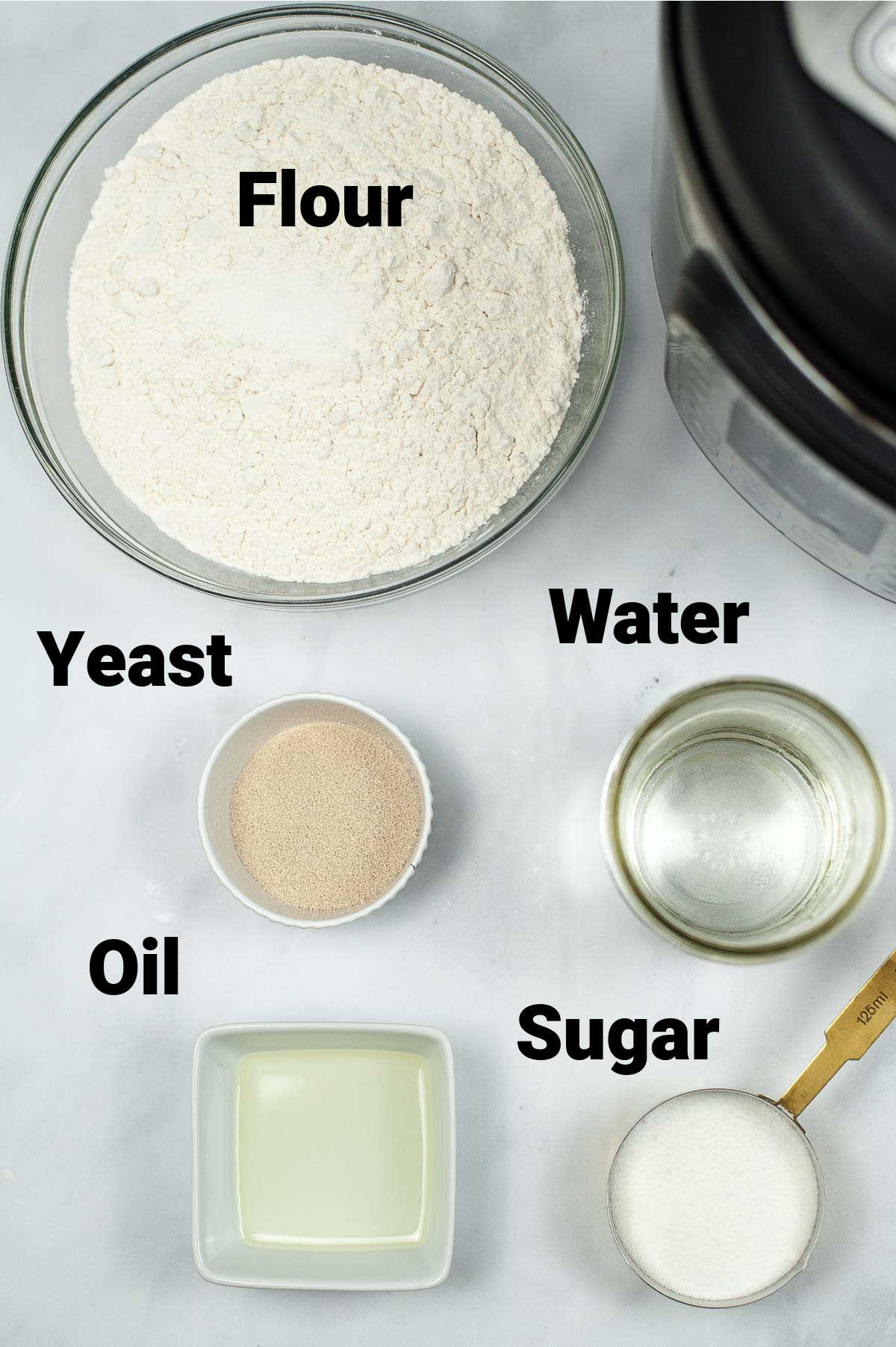 photo showing all of the ingredients on table with labels.