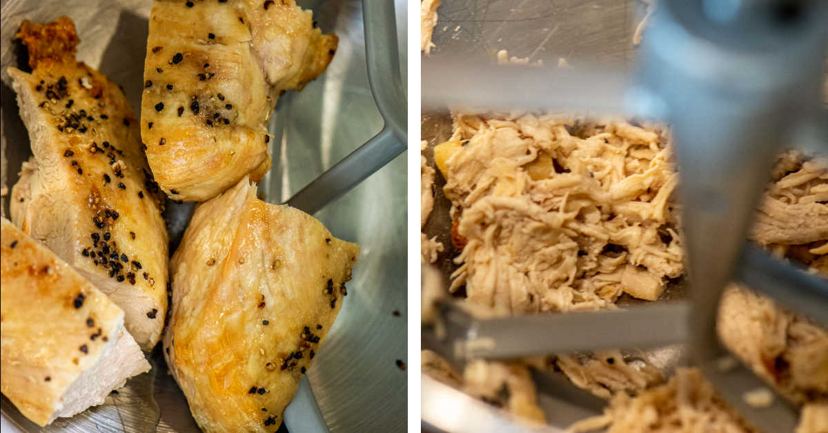 two photos showing the process to add the chicken breasts to your stand mixer to turn it into shredded chicken.