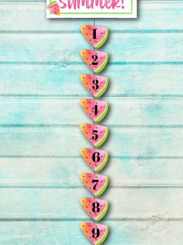 days until summer countdown watermelons on a ribbon.