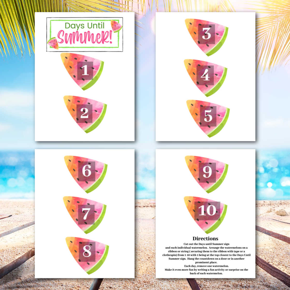beach theme background and the four printable pages.