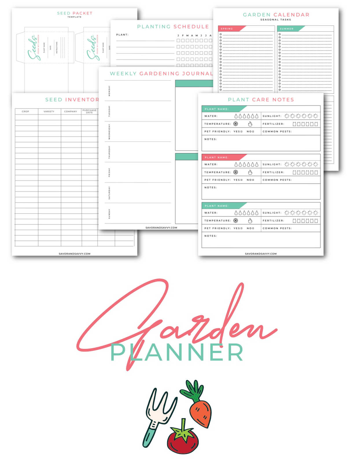 garden planner cover page and several of the pages on top.
