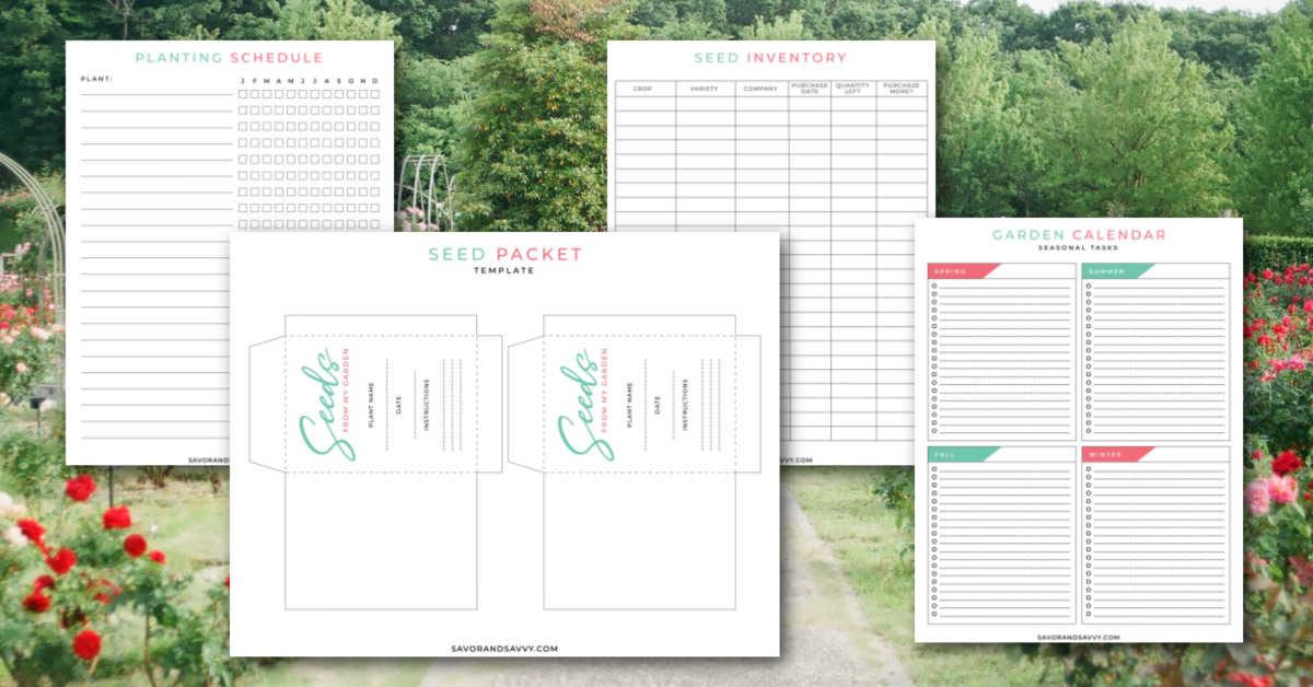 four photos of garden planning printable pages over a rose garden.