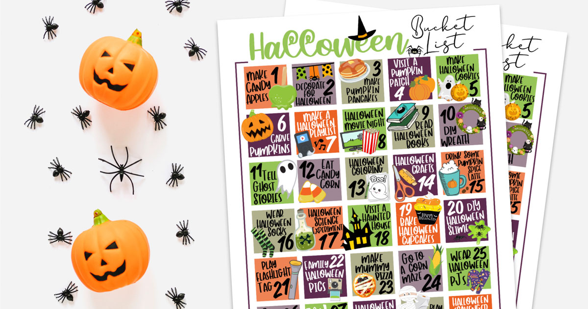 cute bucket list printable on a background with pumpkins and spiders.
