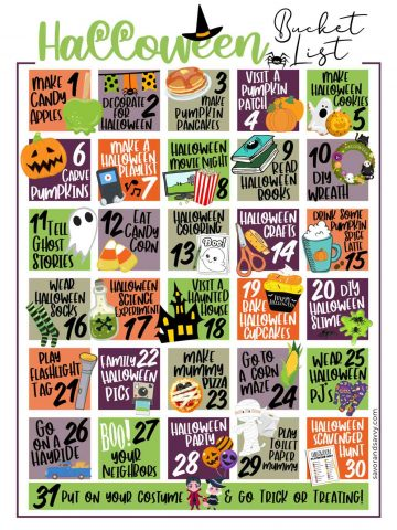 adorable printable page with 31 bucket list ideas on it for halloween.