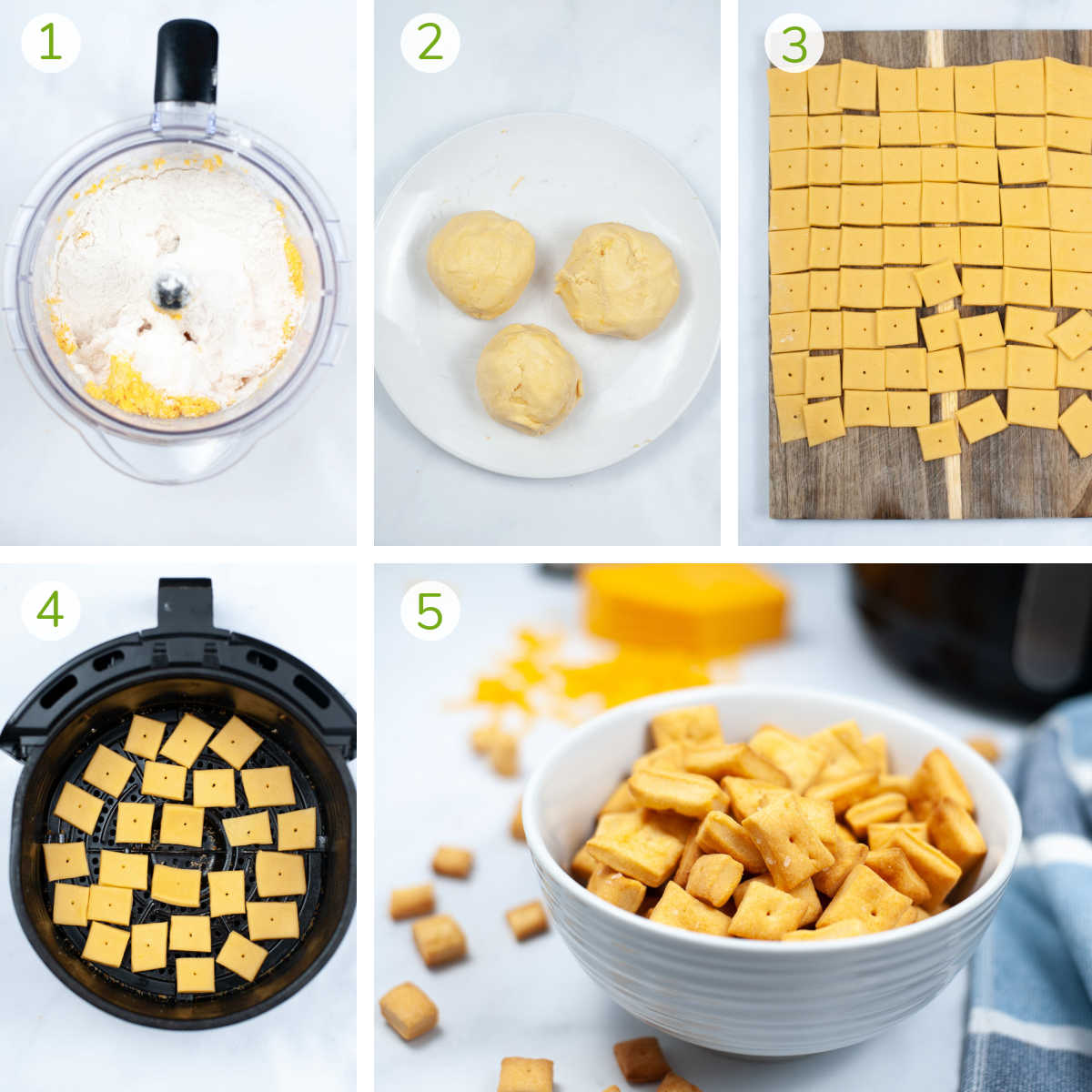several process photos showing how to mix the ingredients in a food processor, rolling them into balls, flattening and then air frying to make cheez-its at home.