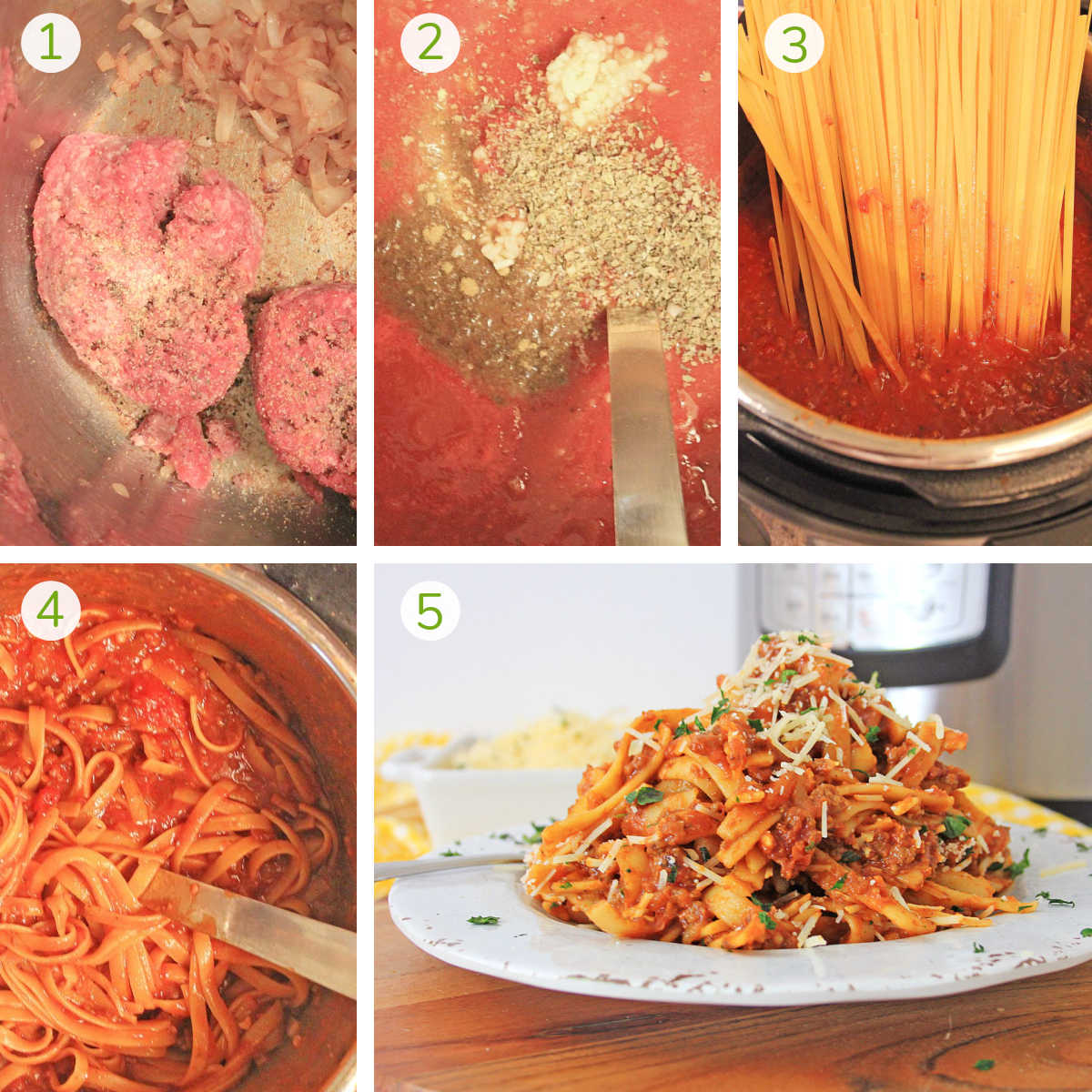 several process photos showing how to brown the sirloin, make the tomato sauce, cook the noodles and serve.