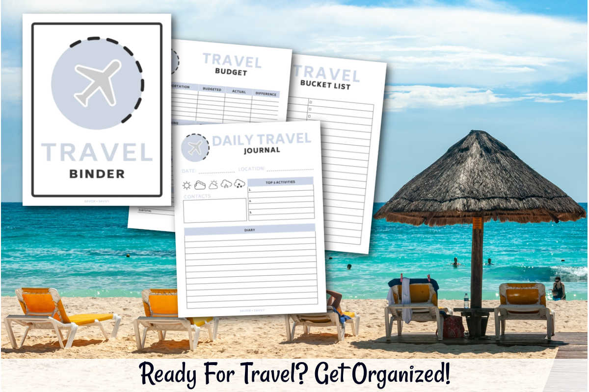 Beach chairs and a cabana on the ocean and travel binder printables.