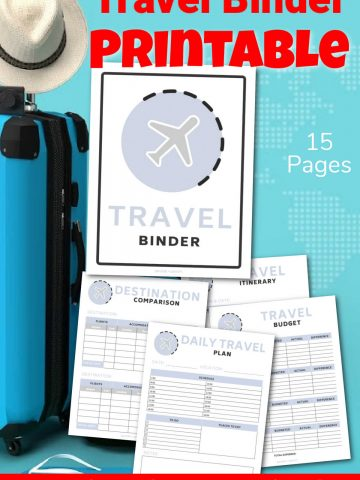 suitcase, flip flops, and a hat for vacation with a few of the printable pages in this travel binder.