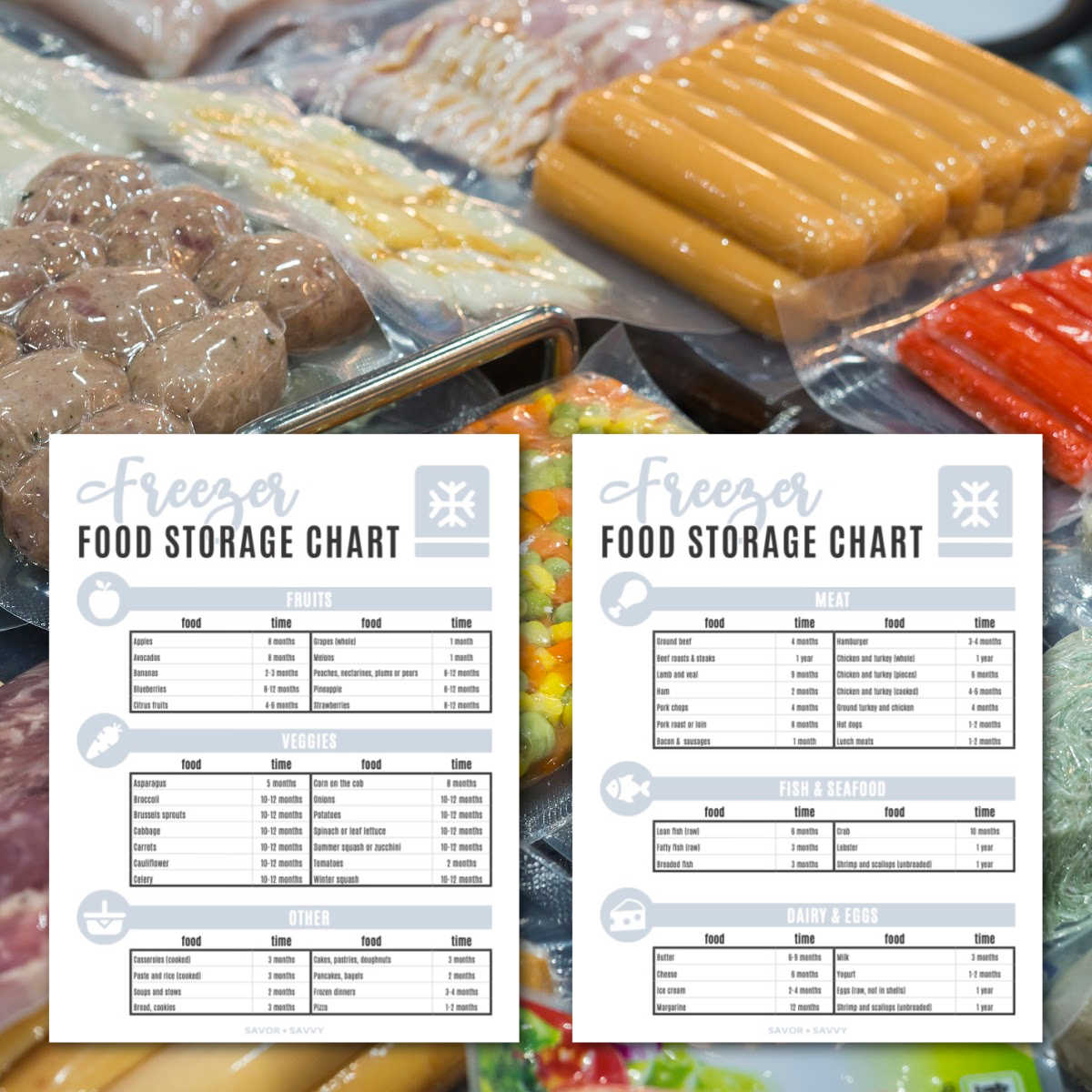 two of the printables overlaying bags of frozen food.