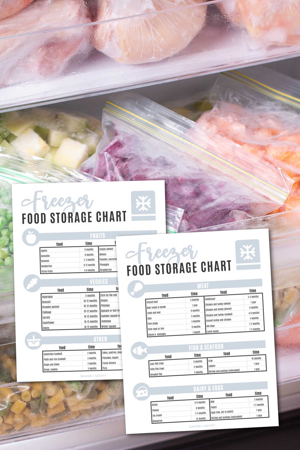 bags of fresh veggies in freezer bags.