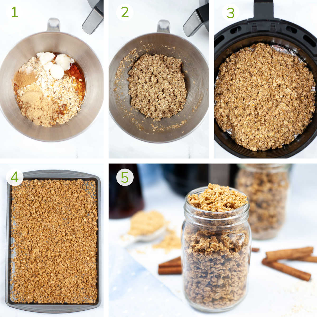 process photos showing mixing the ingredients with the granola and cooking in the air fryer.