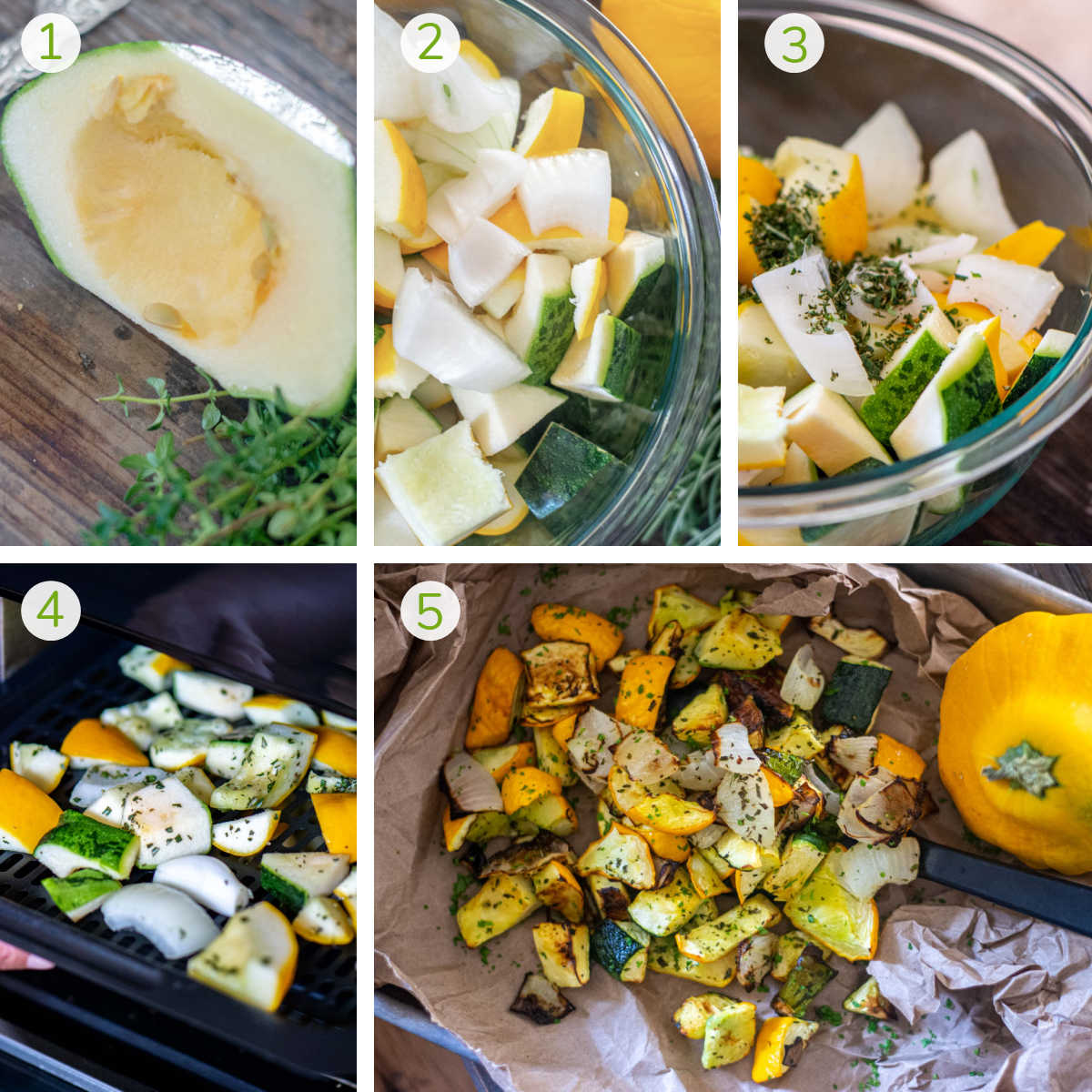 several process photos showing removing the seeds, seasoning, air frying and serving the patty pan squash.