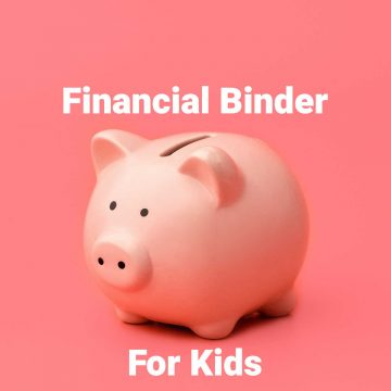 piggy bank on a pink background with financial binder for kids overlayed.