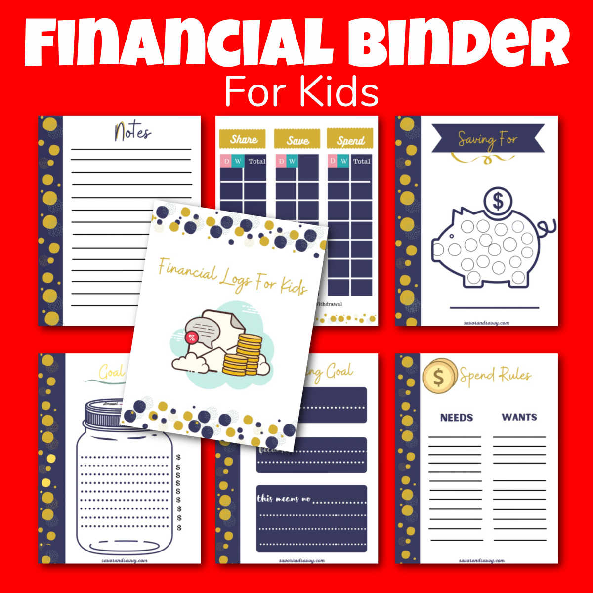 summary photo showing all seven pages of the printable that are included in the binder.