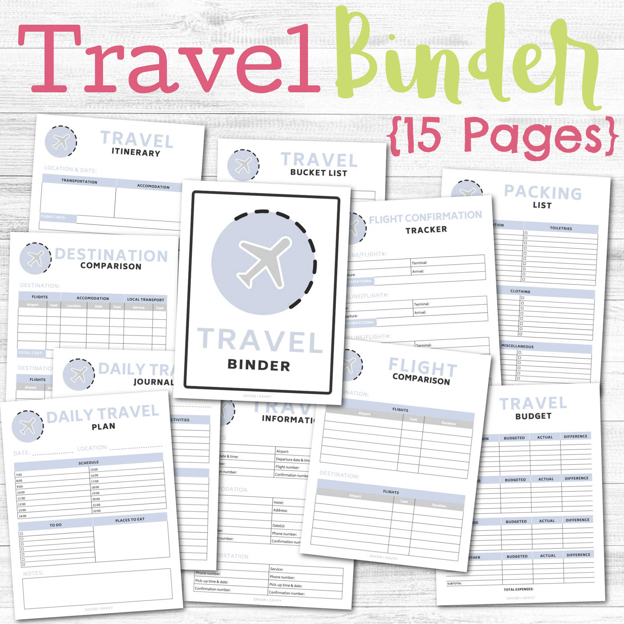 15 pages of the travel binder over a grey background.