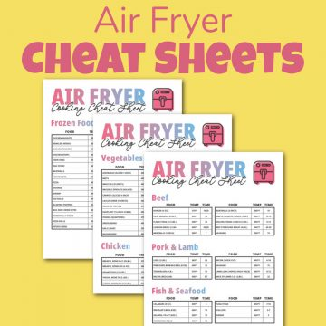 three printable pages on a yellow background.