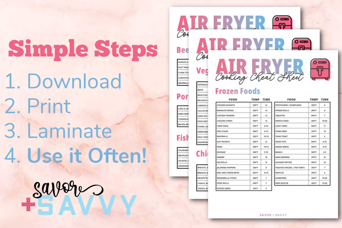 three air fryer printables and written instructions on how to use them.